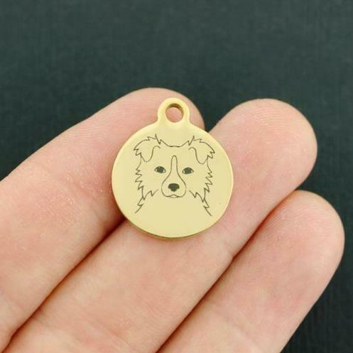 Dog Breed Gold Stainless Steel Charm Border Collie BFS3845GOLD $3.55