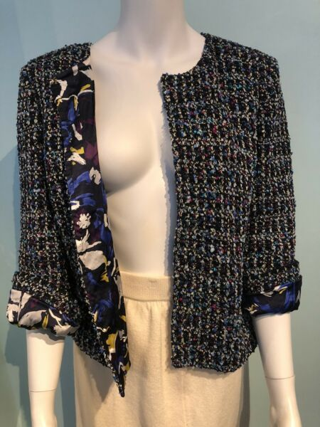 $1695 new St John floral silk lining multicolour jacket 12
