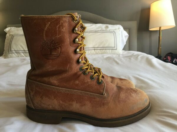 Vintage Timberland Work Boot Distressed Ankle Leather Men 10 9 Eyelet Brown 9quot; $44.98