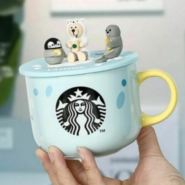 Limited Edition Starbucks Cups Ocean whale penguin Coffee Mugs With Silicone Lid