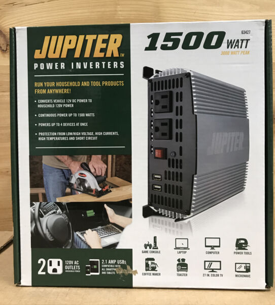 Jupiter 1500 Watt Continuous Modified Sine Wave Power Inverter Model#63427 New