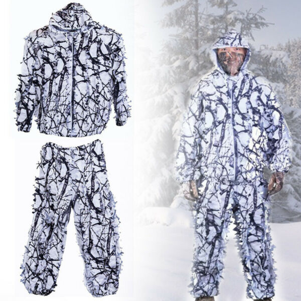 Outdoor Camo 3D Snow Wild Zipper Ghillie Suit for Paintball Airsoft Hunting