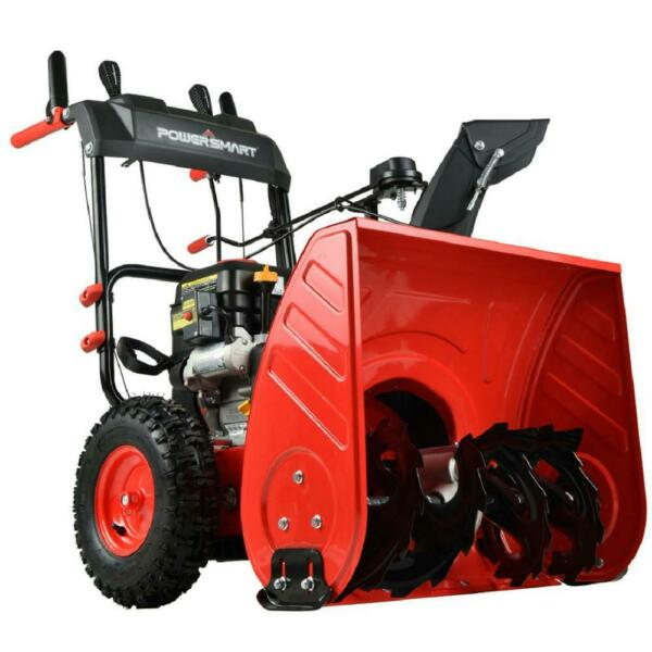 PowerSmart Gas Snow Blower Electric Start 180 Chute Rotation 24quot; 2 Stage 212cc
