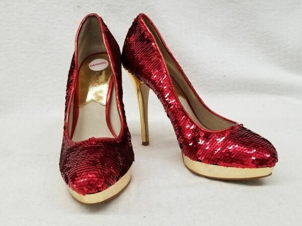 Michael Michael Kors Size 6M Red Gold Sequin York Pump Holiday High Heels Shoes $40.00