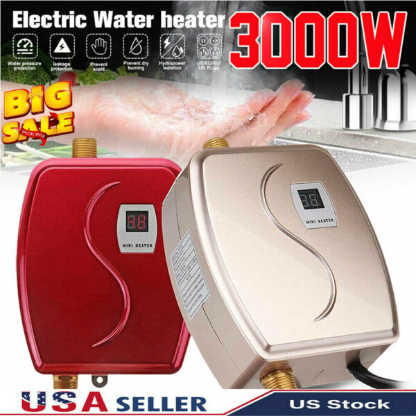 110V Portable Instant Electric Tankless Hot Water Heater Shower Kitchen Bathroom $76.99