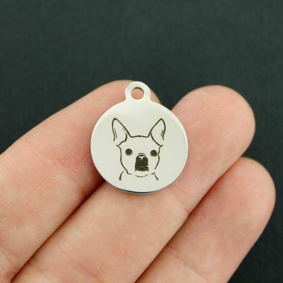 Dog Breed Stainless Steel Charms Frenchie BFS3474 $3.05