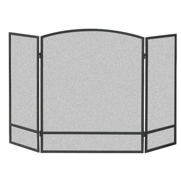 Panacea 15951 Double Bar 3 Panel Fireplace Screen Powder Coated Steel Black