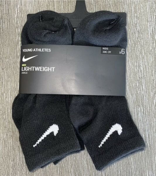 Nike Young Athletes Lightweight Black 6pr Ankle Socks Size Toddler 10C 3Y NWT $14.49