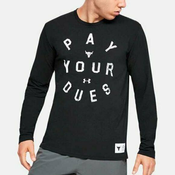 Under Armour Project Rock Pay Your Dues Lon Sleeve Tee T Shirt Black 1346100 001 $24.99