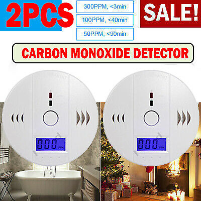 2pcs CO LCD Carbon Monoxide Detector Gas Audio Alarm Warning High Alert Security $19.99
