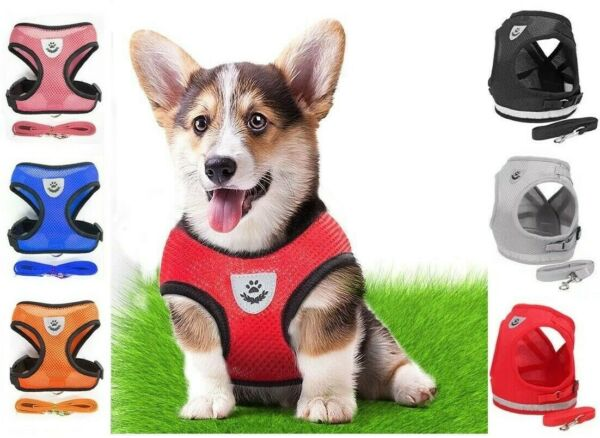 Mesh Padded Soft Puppy Pet Dog Harness Breathable Comfortable Many Colors S M L $4.45