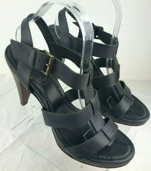 BODEN Leather Wood Stack Heeled Strappy Gray Sandal Euro 41 US 10 Made In Brazil