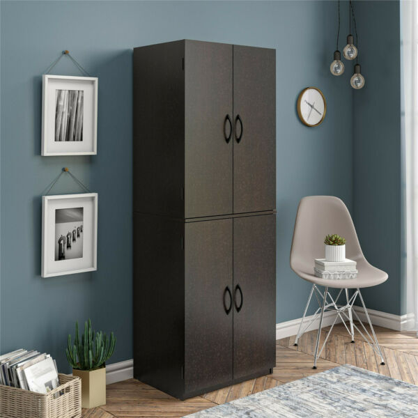 Tall Storage Cabinet Kitchen Pantry Cupboard Organizer Furniture Black Espresso