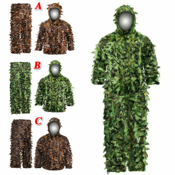 3D Leaf Sniper Ghillie Suit Woodland Camouflage Forest Hunting Tactical Clothing
