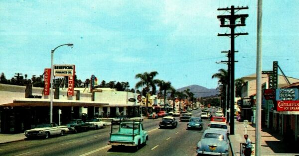 Vista California Street View Old Signs Cars Vintage Postcard A11