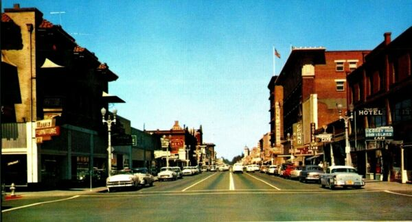 Visalia California Street View Old Signs Cars Vintage Postcard A11