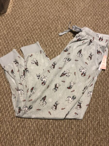 NWT Womens Jaclyn Intimates Pajama Pants Super Soft Christmas Dogs Frenchie $22.99