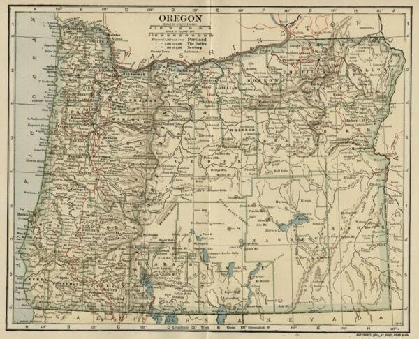 OREGON Map: Genuine 1906 dated County Town Railroads Topography Reservations
