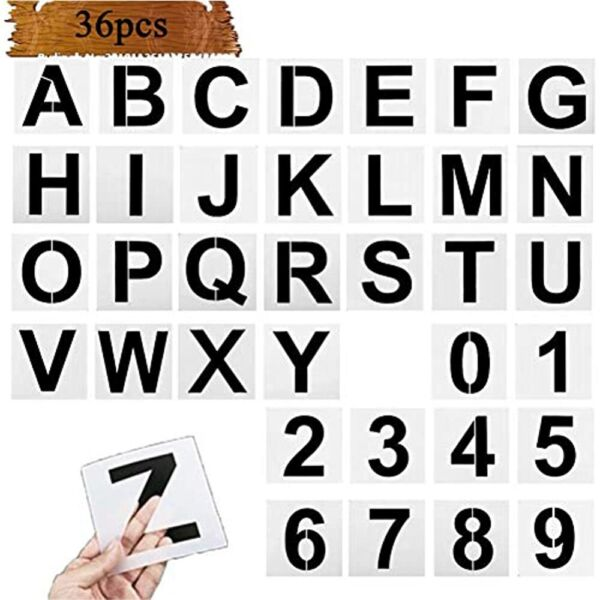 Manbl 36 Pcs Alphabet Letter Stencils For Painting On Wood Inch Reusable And