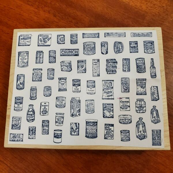 Large Wood Rubber Stamp Food Brand Labels Crackers Soda Chips Bread Coffee