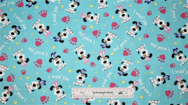 I Woof You Easter Dog Dogs Aqua Blue Paw Prints Holiday Cotton Fabric BTY E ^ $8.99