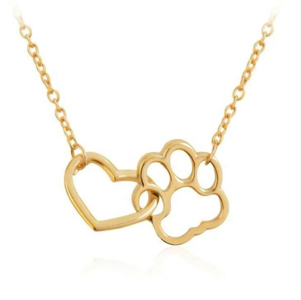 Dog Paw Heart Necklace For Women Pendant Stainless Steel Gold Silver Jewelry $12.99