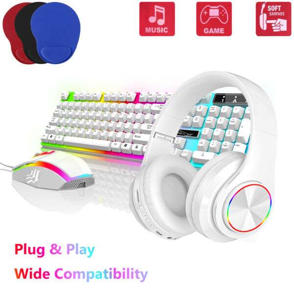 Gaming Kits Gamer Colorful LED Light Keyboard Mouse Wireless Headphones Headset $42.95