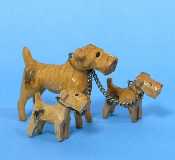 Vintage Set Airedale Dog Mom amp; Puppies Hand Carved Wood Dog Figurines 1940s