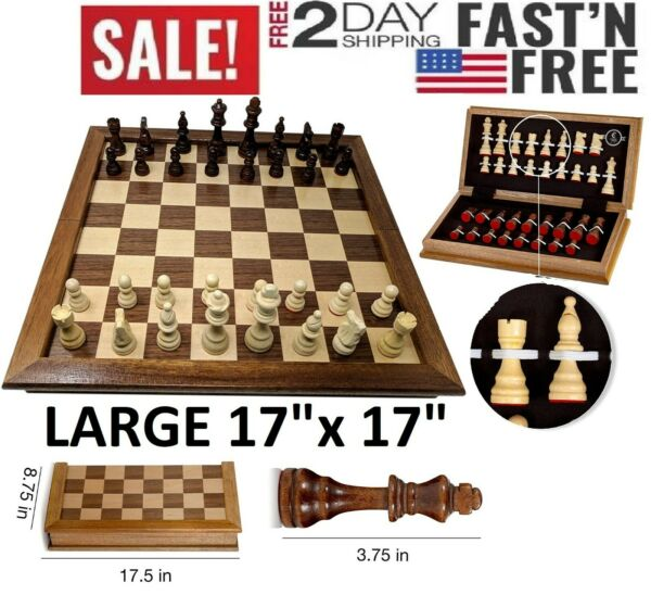LARGE Vintage Wooden Chess Set Wood Board Hand Carved Crafted Folding Game 17quot;
