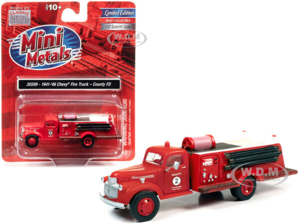 1941 46 CHEVROLET FIRE TRUCK quot;COUNTY FDquot; RED 1 87 HO CLASSIC METAL WORKS 30599