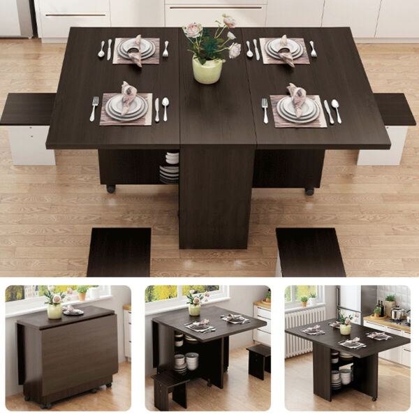 3IN1 Rolling Dining Table Set Kitchen Storage Trolley Room Breakfast Furniture $99.99