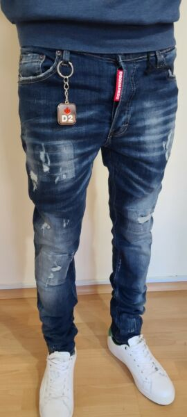 NEW DSQUARED2 BLUE SLIM FIT ELASTIC WASHED MEN#x27;S JEANS MADE IN ITALY GBP 61.99