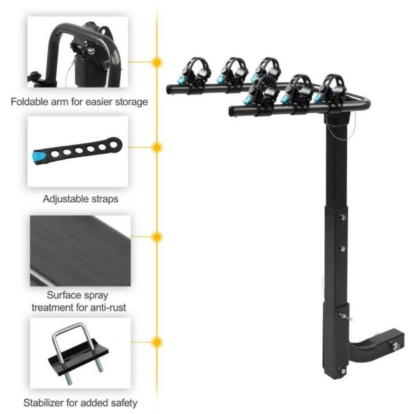 Premium 3 Bike Carrier Rack Hitch Mount Swing Down Bicycle Rack W 2quot; Receiver $66.49