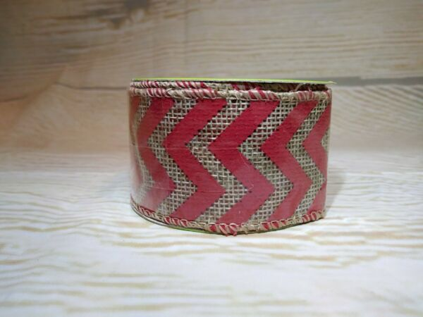 NEW RED Chevron Burlap Ribbon 1.5quot;x9 FT Farmhouse Holiday Floral Wreath Bow Wire