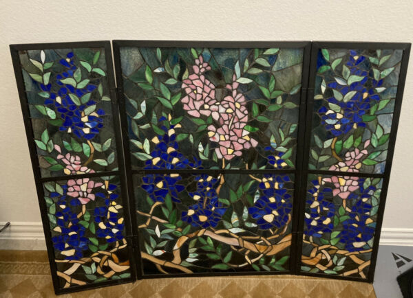 """Stained Glass Flowers leaves 3 Panel Folding Fireplace Screen 31.5H X 40.5L"""""""