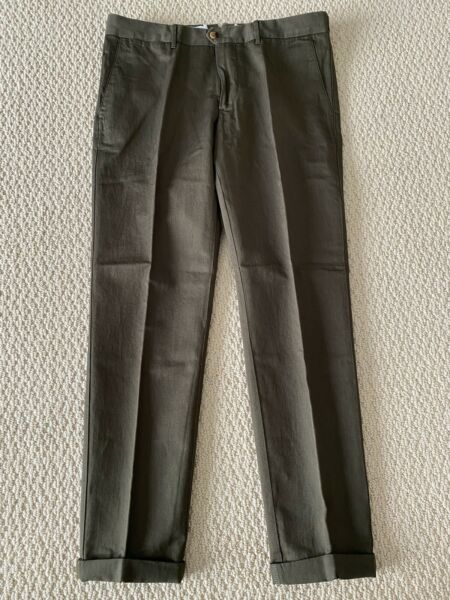 NWT J.Lindeberg Grant 63 Cotton Linen Military Green Slim Fit Chino Pants $250 $12.99