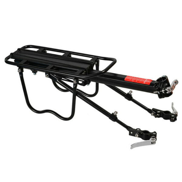 Black Rear Bike Rack Cargo Rack Quick Release Alloy Carrier 110 Lb Capacity New $19.51