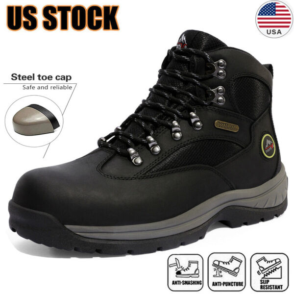 Men#x27;s Safety Shoes Steel Toe Work Boots Indestructible Waterproof Boots Shoes US $50.34