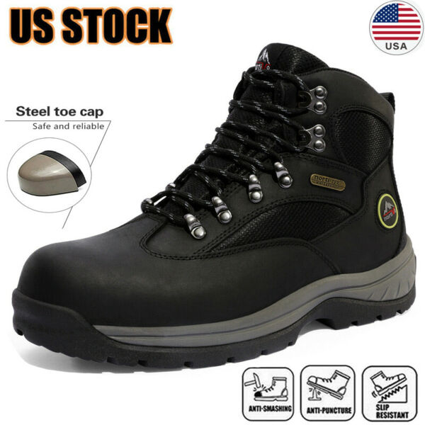 Men#x27;s Safety Shoes Steel Toe Work Boots Indestructible Waterproof Boots Shoes US