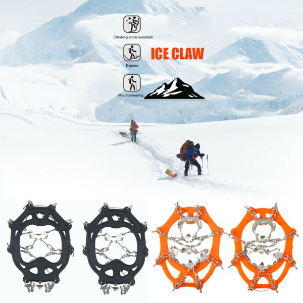 19 Teeth Winter Ice Shoes Cover Gripper Spikes Stainless Steel Climbing Crampons $23.18