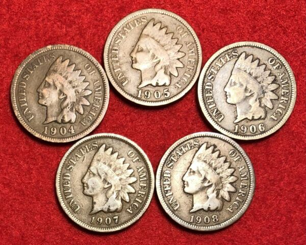 5 Vintage Indian Head Pennies 1 Cent US Coins Penny Lot 1900s Good or Better
