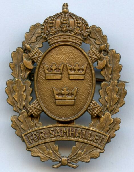 Sweden Obsolete Police For Society Award Numbered Badge Pin