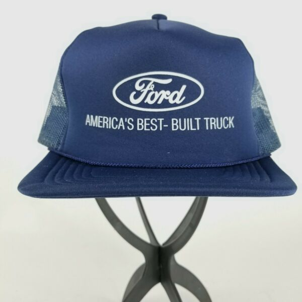 Vintage Ford America#x27;s Best Built Truck Blue Snapback Trucker Hat