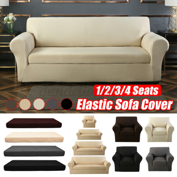 2 piece Set Elastic Stretch Slipcover Sofa Armchair Cover Couch Protector $8.63