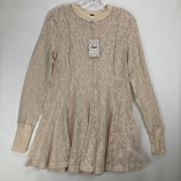 Free People Coffee In The Morning Tunic Lace Pullover Top Chamoix Sz XS $128