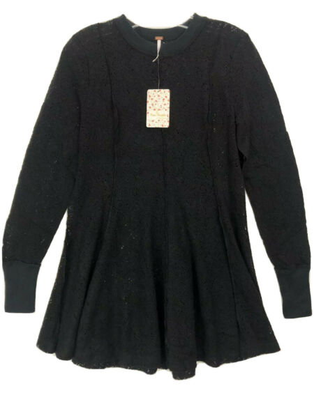 Free People Coffee In The Morning Tunic Lace Pullover Top black Sz XS $128
