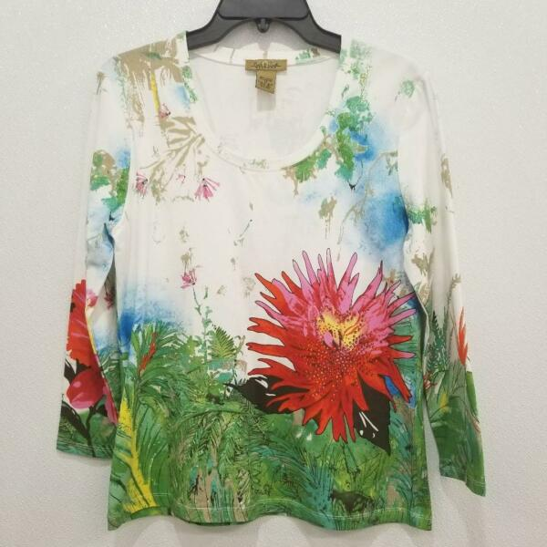 Peck amp; Peck Weekend White Multicolor Floral Long Sleeve Blouse Shirt Top Size M $15.20