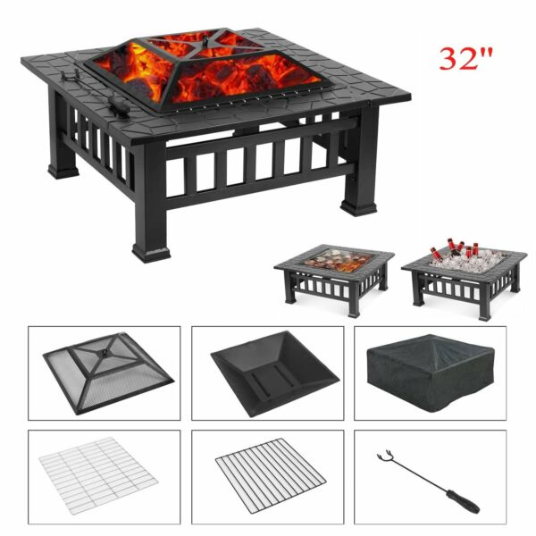 32#x27;#x27; Wood Burning Fire Pit Table Outdoor Garden BBQ Grill Bonfire Stove w Cover