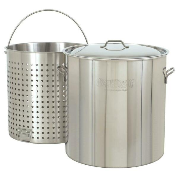 Bayou Classic Boiler Stock Pot Cooking Stockpot w Lid 142 qt Stainless Steel $452.99
