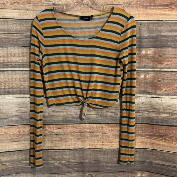 Urban Outfitters Out From Under Small Striped Long Sleeve Tie Front Crop Top $16.00